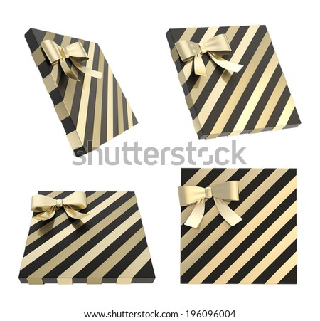 Wrapped  black gift box with a golden bow and ribbon isolated over white background, 3d render illustration, set of four foreshortenings - stock photo