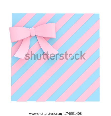 Wrapped blue gift box with a pink bow and ribbon isolated over white background, 3d render illustration - stock photo
