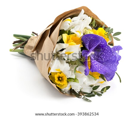 Wrapped bouquet of beautiful spring flowers