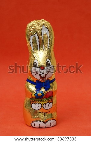 Wrapped chocolate Easter bunny