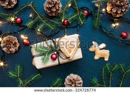 Wrapped Christmas present - stock photo