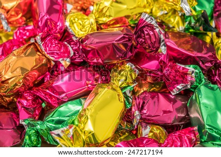 Wrapped Christmas Tree Candies Close Up - stock photo
