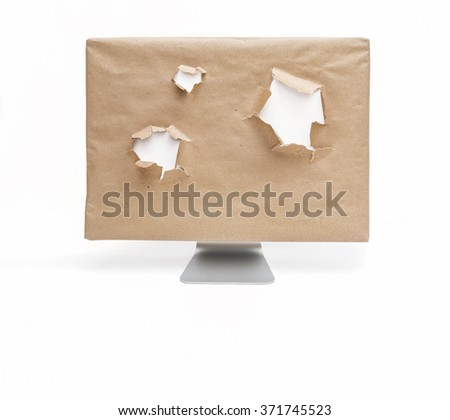 Wrapped computer display with white holes