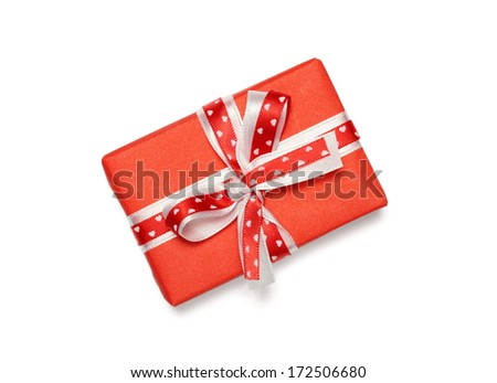 Wrapped gift box with ribbon bow, isolated on white