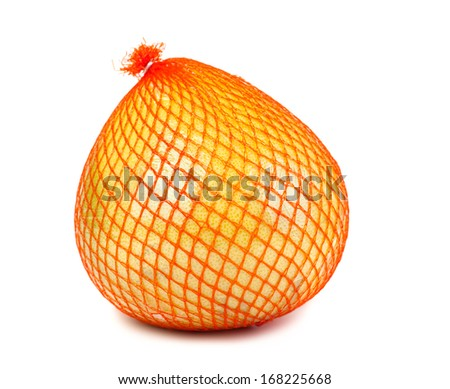 Wrapped in plastic reticle ripe pomelo isolated on white background - stock photo