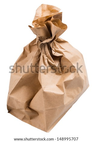 wrapped paper bag from the store is isolated on a white background