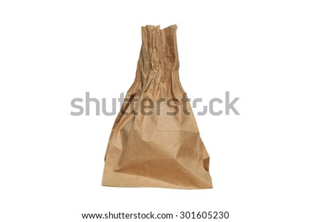 wrapped paper bag from the store is isolated on a white background,with clipping path