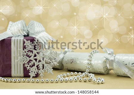 Wrapped present with christmas decorations