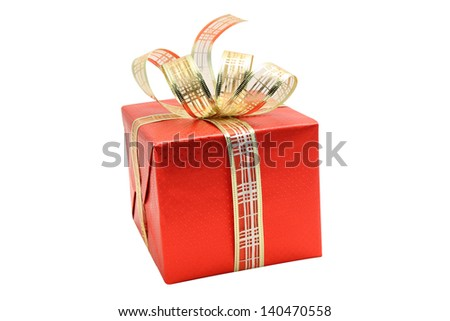 Wrapped red gift box with gold silver ribbon isolated on white background
