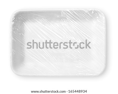 Wrapped styrofoam food tray isolated on white with clipping path - stock photo