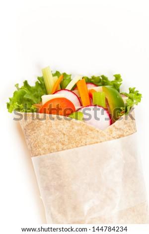 Wrapped tortilla sandwich - stock photo