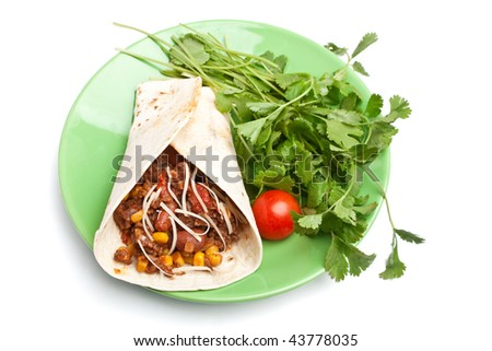 with beef chili and cilantro on a white background - stock photo