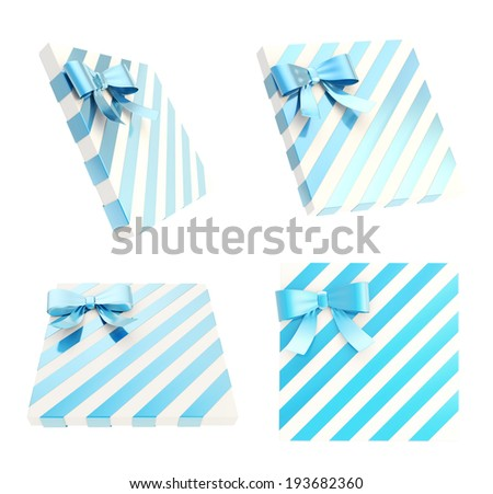 Wrapped white gift box with a blue metallic bow and ribbon isolated over white background, 3d render illustration, set of four foreshortenings - stock photo