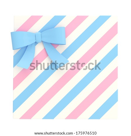 Wrapped white gift box with a pink and blue bow and ribbon isolated over white background, 3d render illustration - stock photo
