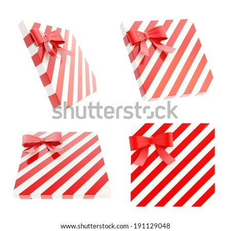 Wrapped white gift box with a red bow and ribbon isolated over white background, 3d render illustration, set of four foreshortenings - stock photo