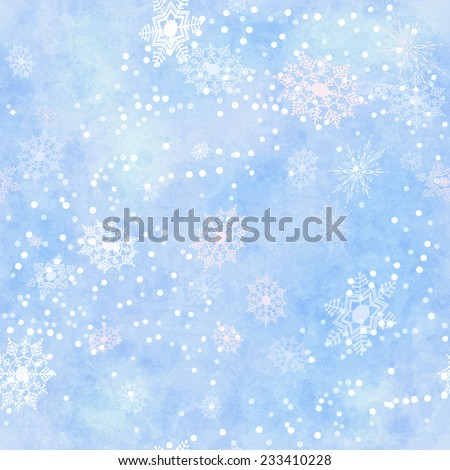 Wrapping Christmas vintage paper background with snowflake seamless pattern, subtle grunge texture. Holiday winter retro wallpaper backdrop - stock photo