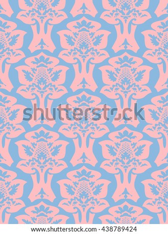 Wrapping floral foliage damask seamless wallpaper for website, leaves repeating foliage western drapery, flower organic pink luxury tiled old revival venetian fashion fabric elegant blue light trend - stock photo