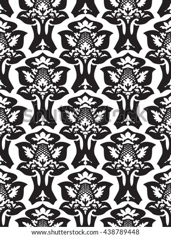 Wrapping floral foliage damask seamless wallpaper for website, leaves repeating foliage western drapery flower organic vector black white luxury tiled old revival venetian fashion fabric elegant trend - stock photo