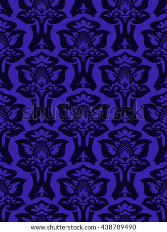Wrapping floral foliage damask seamless wallpaper for website, leaves repeating foliage western drapery, flower organic blue iris luxury tiled old revival venetian fashion fabric elegant color trend - stock photo