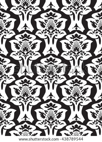 Wrapping floral foliage damask seamless wallpaper for website, leaves repeating foliage western drapery flower organic black white luxury tiled old revival venetian fashion fabric elegant trend - stock photo