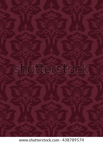 Wrapping floral foliage damask seamless wallpaper for website, leaves repeating foliage western drapery, flower organic maroon luxury tiled old revival venetian fashion fabric elegant trend - stock photo