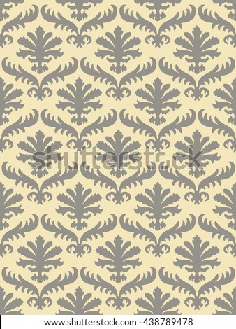 Wrapping leaves damask seamless floral pattern background for website, wallpaper, repeating foliage floral western damask flower organic, ivory drapery luxury tiled decor old revival venetian  - stock photo