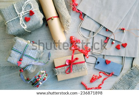 wrapping Valentines Day - stock photo