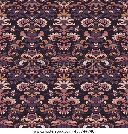 Wrapping wallpaper floral seamless tile for website, repeating foliage outline floral western damask flower organic, drapery luxury tiled decor old revival venetian fashion fabric elegant trend - stock photo