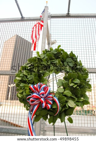 wreath at the World Trade Center, Ground Zero site - stock photo