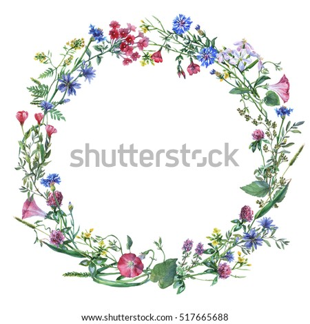 Easter Wreath Easter Eggs Grass Flowers Stockillustration