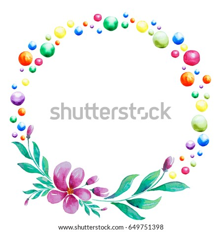 Wreath flower and dot colour.Isolated on white background. Artistic decoration illustration. Save the date, weddign design,valentine's day