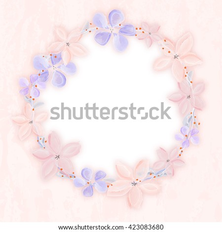 Wreath of abstract watercolor flowers on grungy background with white copy space for your text. Illustration. - stock photo
