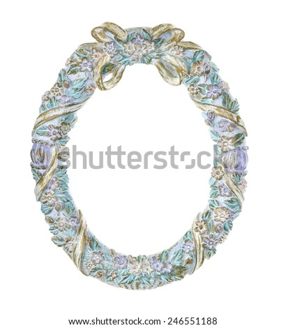 Wreath of Flowers and Bow Oval Picture Frame - stock photo