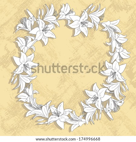wreath of lily flowers, floral frame, vector illustration