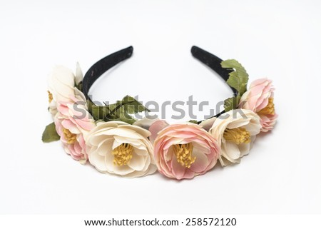 wreath of pink flowers on a white background - stock photo