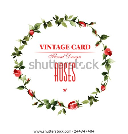 Wreath of roses, watercolor, can be used as greeting card, invitation card for wedding, birthday and other holiday and  summer background  - stock photo