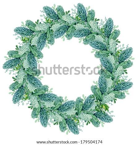 wreath of twigs beautiful watercolor - stock photo