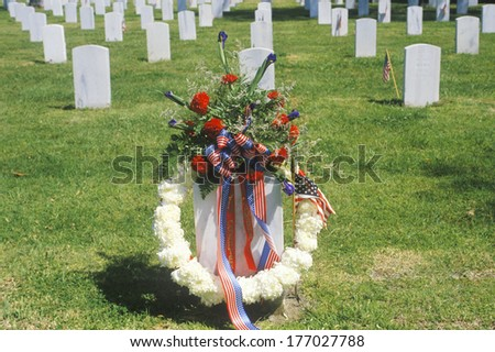 Wreath On Grave, Los Angeles, California