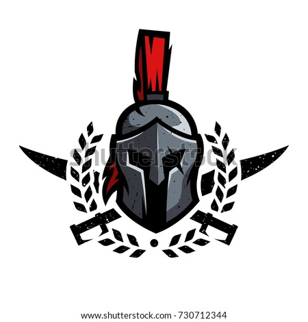 wreath swords helmet spartan warrior symbol stock vector