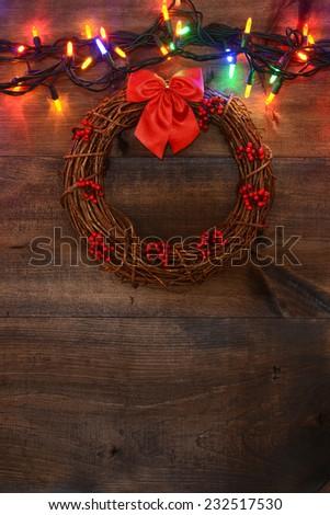 wreath with christmas lights - stock photo