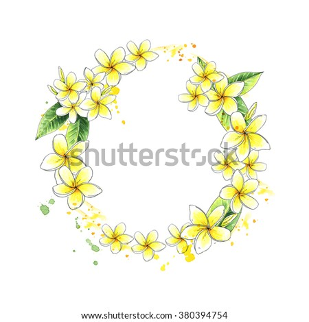Wreath with tropical flowers, Plumeria, Frangipani. Watercolor border frame - stock photo