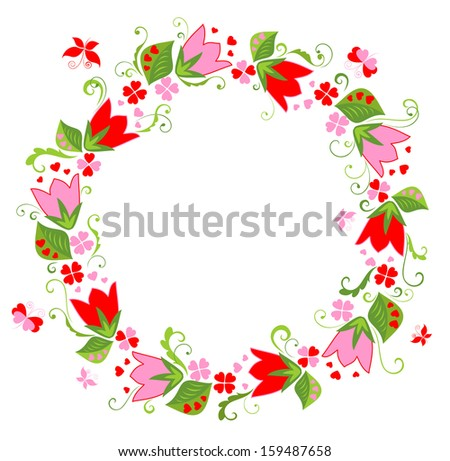 Wreath with tulip. Raster copy - stock photo