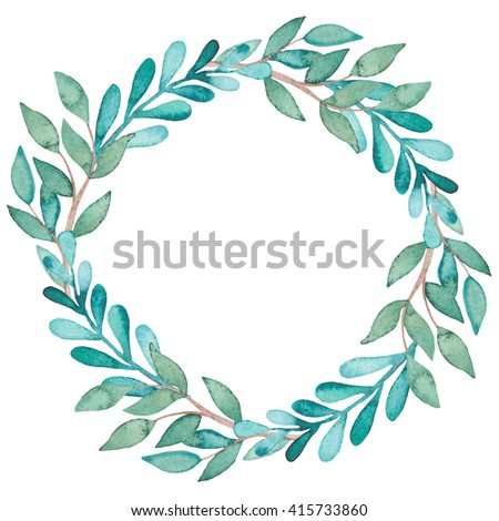 Wreath With Watercolor Blue And Green Leaves