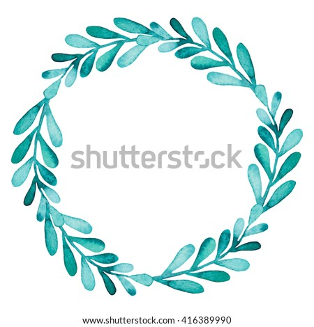 Wreath With Watercolor Bright Green Leaves