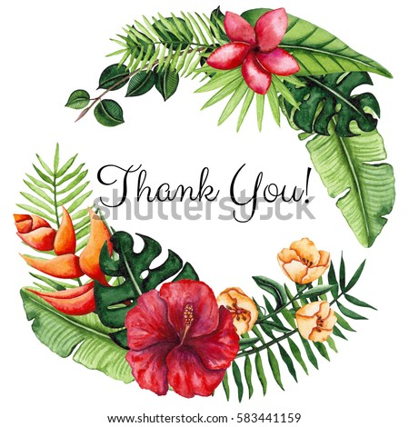 Wreath Watercolor Tropical Flowers Leaves Words Stock