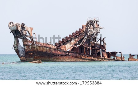 wreck at Tangalooma queensland - stock photo