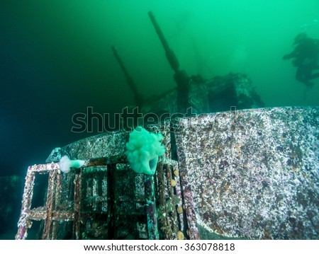 Wreck diving in British Columbia - stock photo