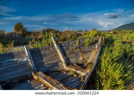 wreck of a fishing boat in Lefkada GReece - stock photo