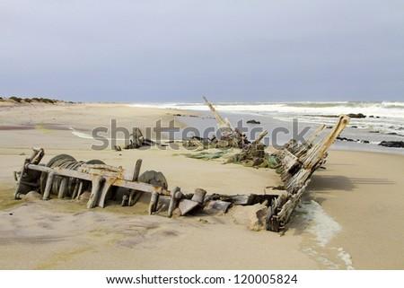 Wreck of the South West Sea. Skeleton Coast Park . Namibia - stock photo