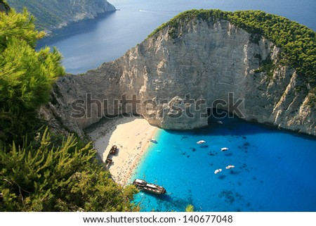 wreck picturesque bay on the island of Zakynthos, Greece - stock photo